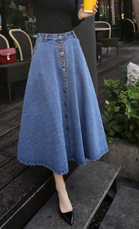 Meredith  - long light denim maxi length jean skirt with button closure and front pockets