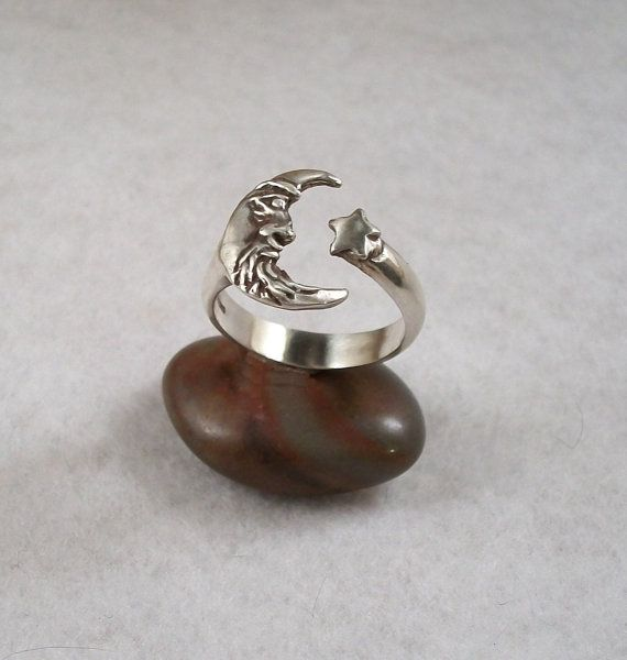 Sterling Silver Man in the Moon ring crescent by BeachsideJewels, $34.99