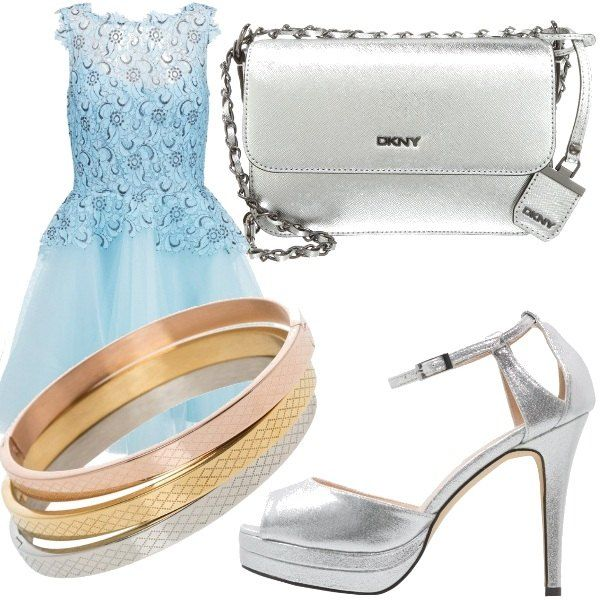 Questo outfit è adattissimo per essere la damigella d'onore perfetta ad un matrimonio, elegante, colorato d'azzurro e argento; abito in tulle e pizzo in uno splendido azzurro, scarpe spuntate e pochette in silver, come accessorio un trio di bracciali in tre colori, oro rosato, oro e silver