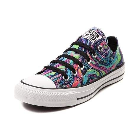 You'll be looking slicker than an oily spot with the new Oil Slick Sneaker from Converse! Watch your step with these Oil Slick Chucks, rocking a multicolored marble swirl graphic printed on a satin upper in a low-top design with signature Chuck Taylor style and comfort. <b>Only available at Journeys and SHI by Journeys!</b> <br><br><u>Features include</u>:<br> > Low top style constructed with graphic printed satin uppers and breathable textile lining<br> > Lace-up closure for a secure…