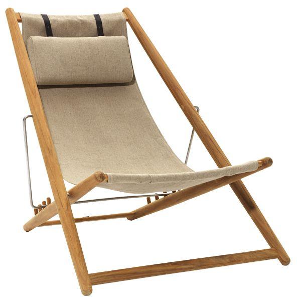 H55 easy chair, teak/canvas, by Skargaarden.