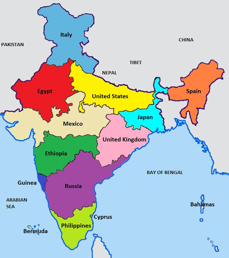 """India population comparison. [[MORE]]by TheJaice """"I combined states of India to compare to different countries of corresponding population, just to give a sense of scale of the population of India...."""
