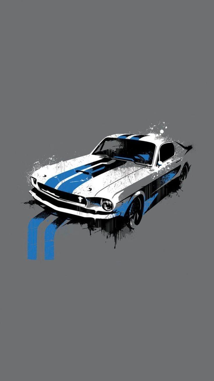 Mustang Poster Automotive Art Car Illustration Car Art