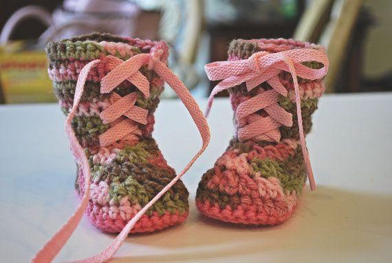 Crochet Pink Camo Baby Combat Boots by AuntieMCrochetCloset, $20.00