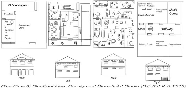 https://flic.kr/p/GJBtaS | (The Sims 3) Consigment Store & Art Studio | I normally use scrap sheets for my technical drawings. Like now I actually I should use more often sketchbook, it is extensive, clear and has useful tools.  The Design is based on A Consigment store   (A community Lot from the expansion Sims 3 Ambition)  And an Art Studio for Indipendent Artists   (Also from The Sims 3 Ambitions, When your Sim can get Skill Careers around skills that produce items)