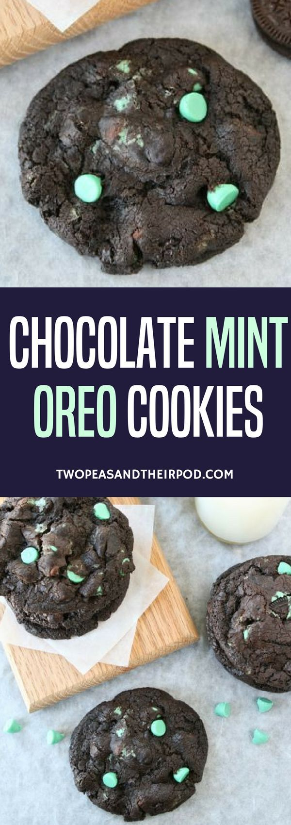 Chocolate cookies with chocolate chips, mint green chips, and chopped up Cool Mint Oreos. These cookies are rich and decadent with a refreshing mint twist. #dessert #cookies #chocolate