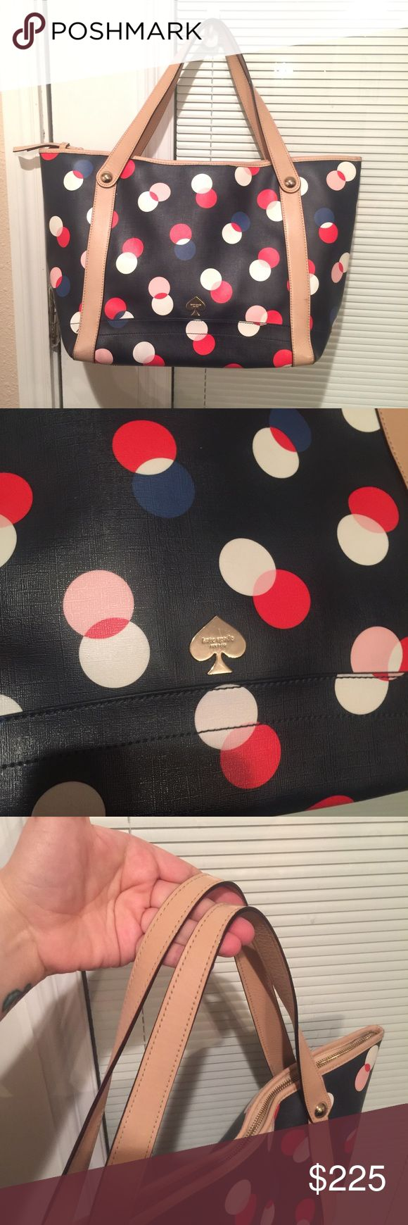 Super Cute Kate Spade Polka Dot Tote Bag Great condition, the only wear on this bag is the wear on the bottom corners. Can be seen in picture of bottom of bag. Authentic. Great condition aside from the minor bottom wear. Beautiful easy to clean coated exterior. Leather handles are in beautiful condition, trade value higher. Will consider reasonable offers. kate spade Bags Totes