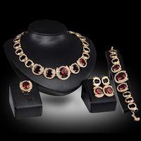 Acessórios do casamento De Noiva banhado a Ouro Zircão Cristal Verde Vermelho brincos colar de Pingente Anel de Casamento mulheres conjuntos de jóias de noiva