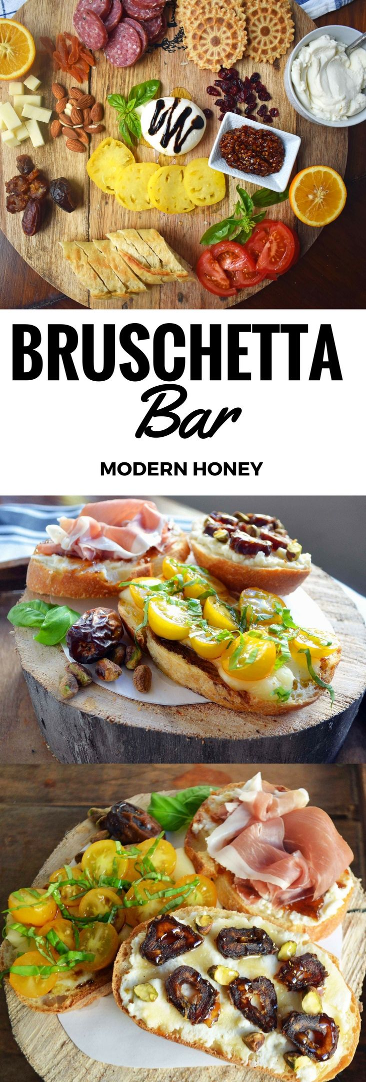 Bruschetta Bar and Charcuterie Board Ideas for the perfect party appetizer. Bruschetta toppings ideas and flavor combinations that everyone will love. www.modernhoney.com