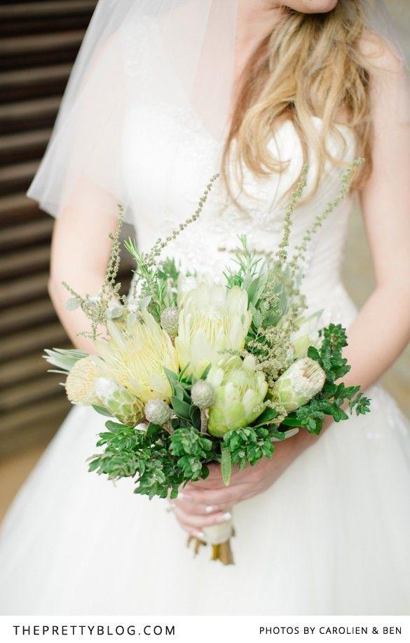 Jenni & Hendrik's Wedding protea and fynbos bouquet