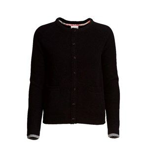 SUPERSOFT cardigan, black. The classic and usable cardigan to be worn with every outfit. Made in sustainable wool from our Italien supplier. Beautiful details with Liberty fabric on the buttons.