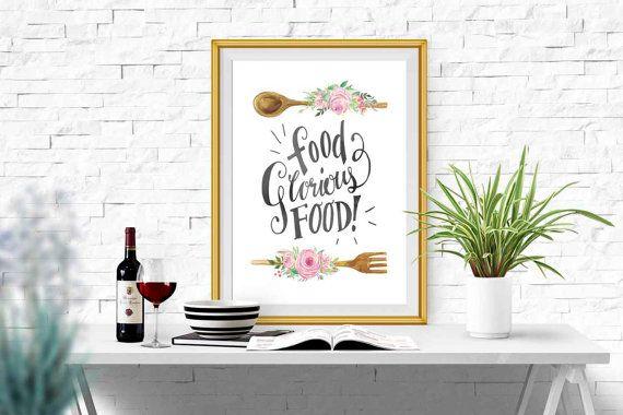 Large Kitchen wall decor Watercolor Kitchen printable Kitchen print Wooden spoon Floral Kitchen art  Pink flower kitchen quote Kitchen gift
