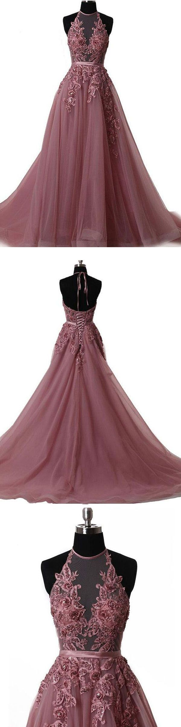 Halter Brush Train Simple Prom/Evening Dress With Lace Applique PG550 #promdress #eveningdress #dress #party #tulle #brush