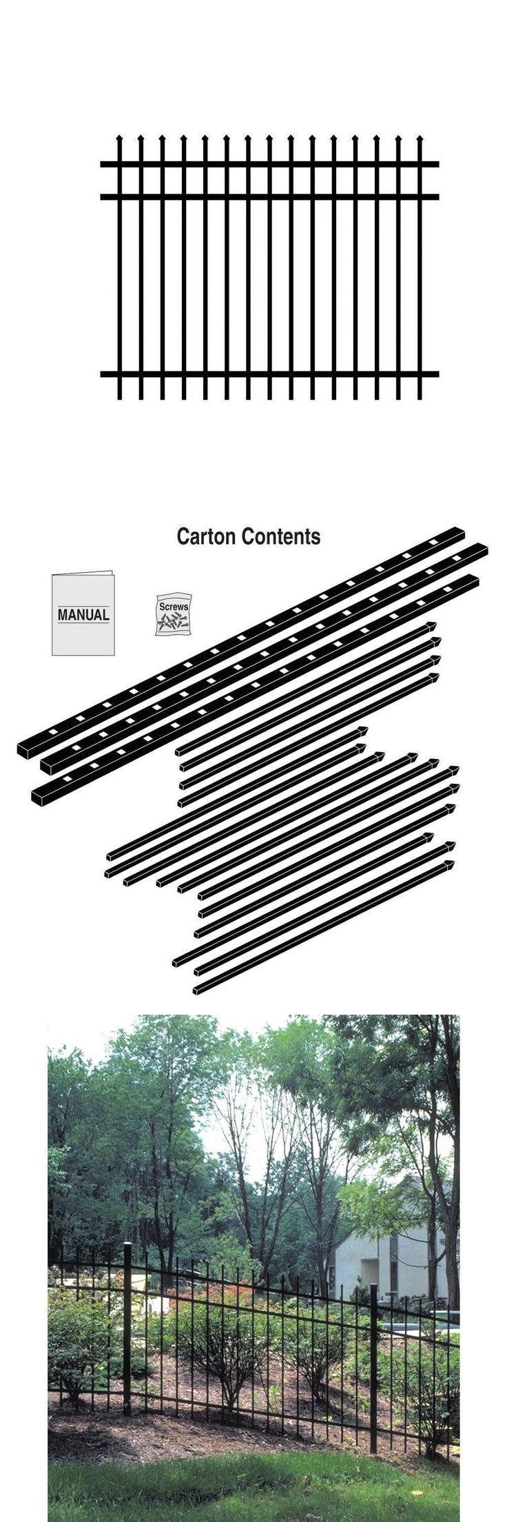 Fence Panels 139946: Outdoor Backyard Lawn 3 Rail Unassembled Fence Panel 4 X 6 Ft. Black Aluminum -> BUY IT NOW ONLY: $78.24 on eBay!