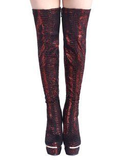 Stivali sexy della piattaforma sopra gli alti talloni del ginocchio Stivali rossi delle signore rosse delle donne