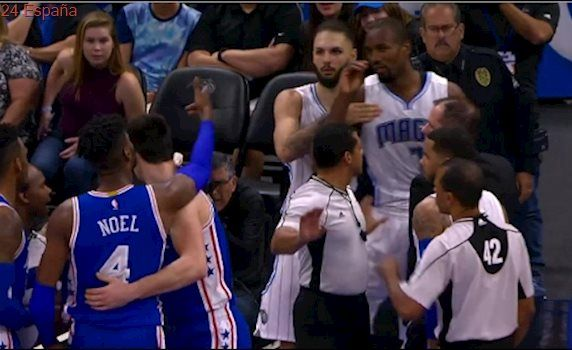Serge Ibaka Nerlens Noel Fight - Everybody Holds Everybody Back