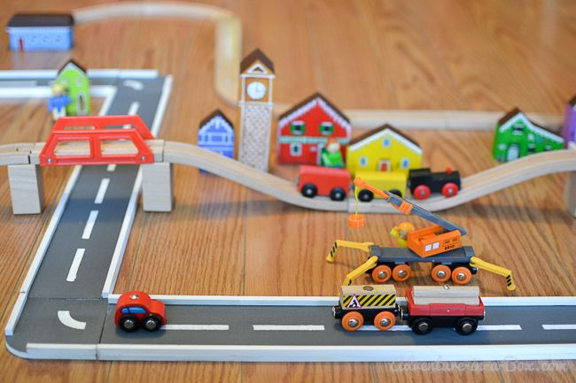 This handmade set of wooden road tracks and ramps was so easy to make, and my son loves playing with it!