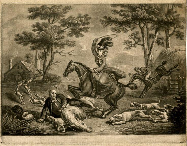 1781: Satirical PrintFallen Horses, Horseback Raised, Fallen Man, British Museum, Etchings, Collette, Rise Woman, Letters, Habits