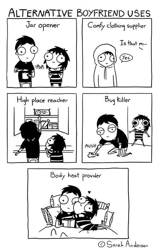 Sarah's Scribbles :: Alternative Boyfriend Uses | Tapastic Comics - image 1