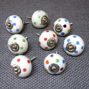This is a quirky set of 8 cupboard knobs from Pushka Home featuring a multicoloured theme that would instantly transform a chest of drawers with little effort.  Add some style to your home with this gorgeous set of cupboard knobs.  This mixture comprises of our most popular knobs.