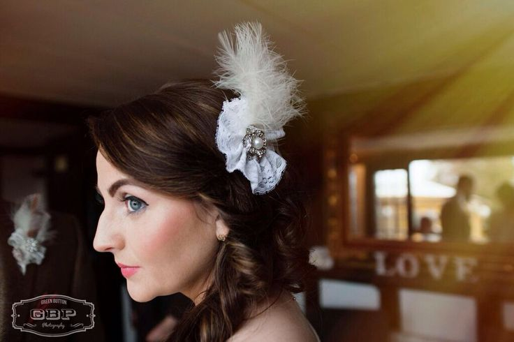 Bespoke bridal hair piece from Lilly Dilly's #wedding #bride #bridal #hair #accessories #couture #bespoke #handcrafted #vintage #lace #feather #pearl #diamante