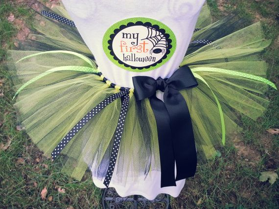 Baby's first Halloween Costume- Includes infant sized tutu in Lime Green and black, felt witches hat headband AND 'My First Halloween' decal
