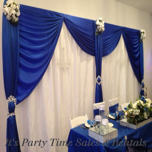 Royal Blue Satin With White Pintuck Wedding Backdrop
