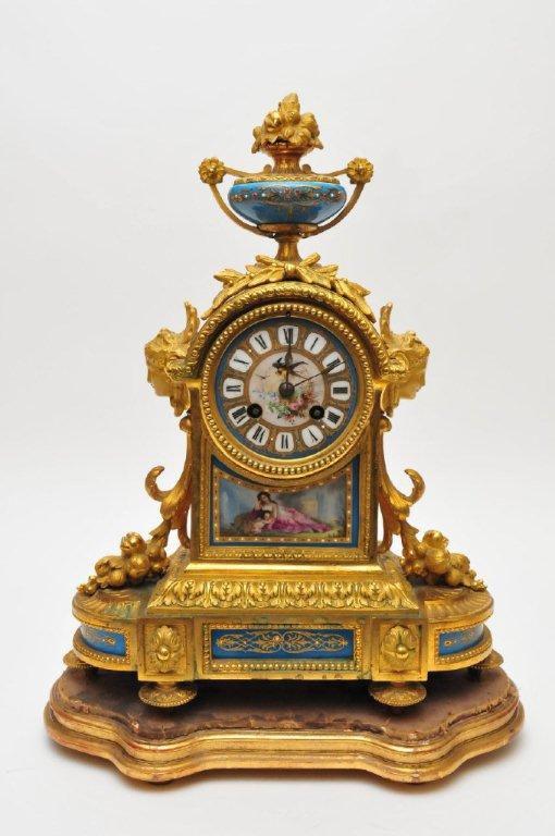 .Antique French Napoleon III ormolu and blue celeste porcelain mantel clock. - Gavin Douglas Antiques