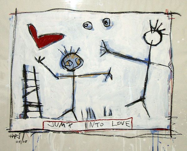 Jump into Love Mixed technic on paper 60 x 80 cm