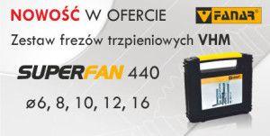 Zestaw frezów trzpieniowych VHM SUPERFAN 440 fi 6, 8, 10, 12, 16 w cenie 899 PLN netto INDEX Z9-444000-0616