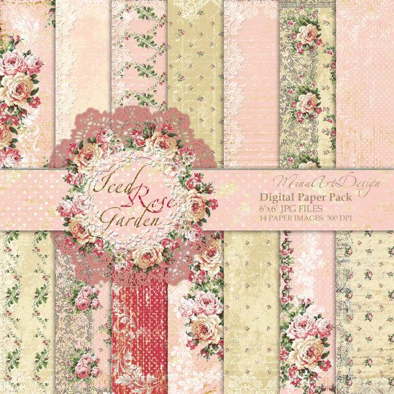 Wedding Paper Pack Pink Roses Digital Background by MinaArtDesign