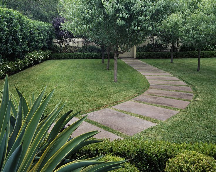 Stepping stones through lawn
