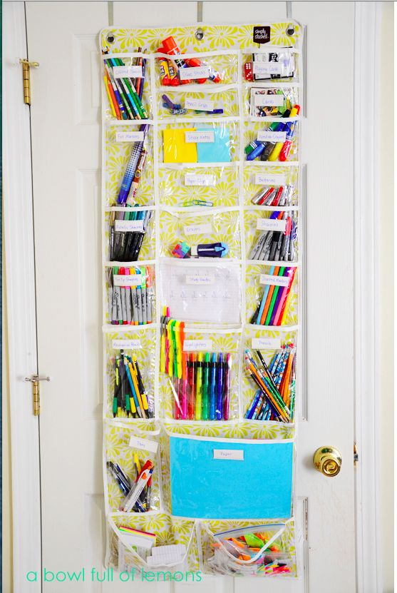 Over the door organizers are surprisingly perfect for keeping school supplies handy.