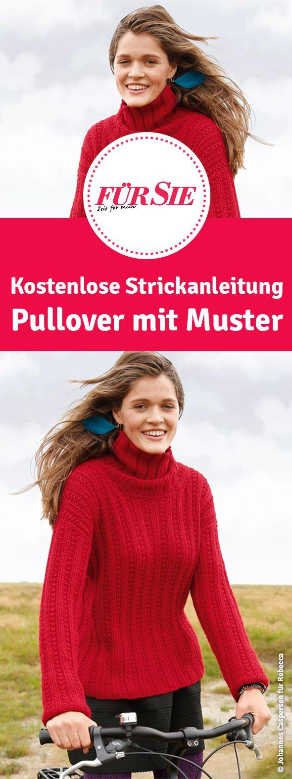 kostenlose Strickanleitung Pullover mit Muster selber stricken mit Strickmuster