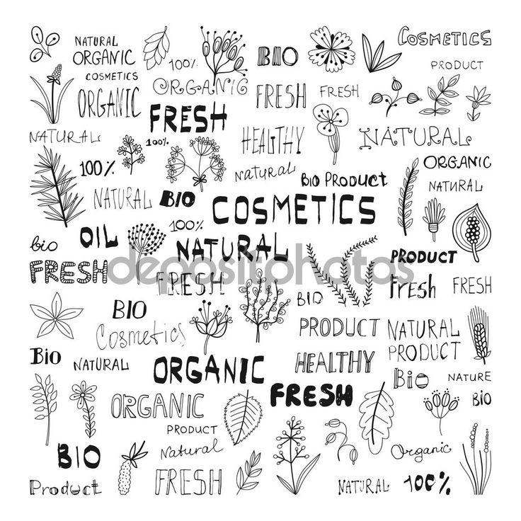 Набор каракули трав, растений и надписи: натуральная, органическая, Косметика, био, свежий, продукт — Stock Illustration #71962161