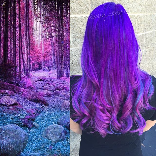 Into the Woods Purple Hair color design by Christina Dossola vivid hair neon hair violet hair #hotonbeauty fb.com/hotbeautymagazine