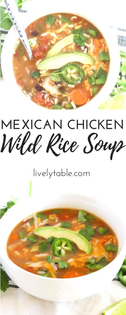 Delicious and easy Mexican Chicken and Wild Rice Soup makes a cozy winter meal in 15 minutes! #Sponsored by @Progresso via livelytable.com