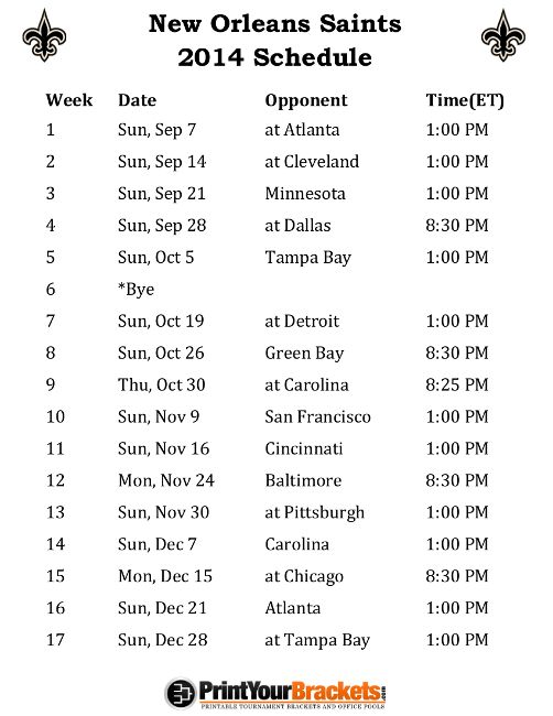 Printable New Orleans Saints Schedule - 2014 Football Season