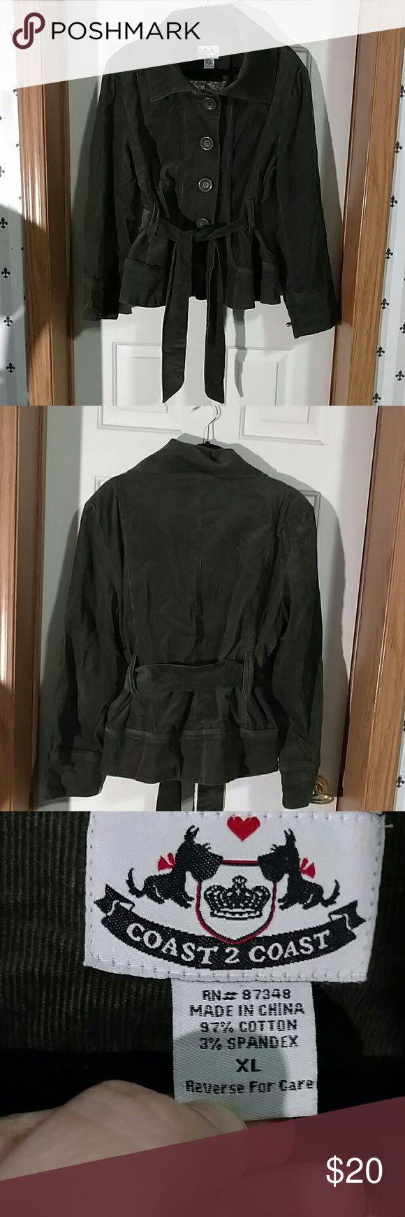 Coast 2 Coast corduroy jacket Beautiful Olive Green Corduroy Jacket. Big buttons. Tailored type fit. Gorgeous lining.  It is eye catching! Coast 2 Coast Jackets & Coats Pea Coats