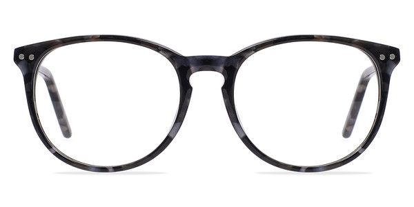 These gray floral eyeglasses are a breath of fresh air. This full acetate frame features rounded wayfarer shaped lenses and a beautiful marbled floral patterned finish throughout. A classic keyhole nose bridge, double stud accents, and delicate arms complete the look. @EyeBuyDirect