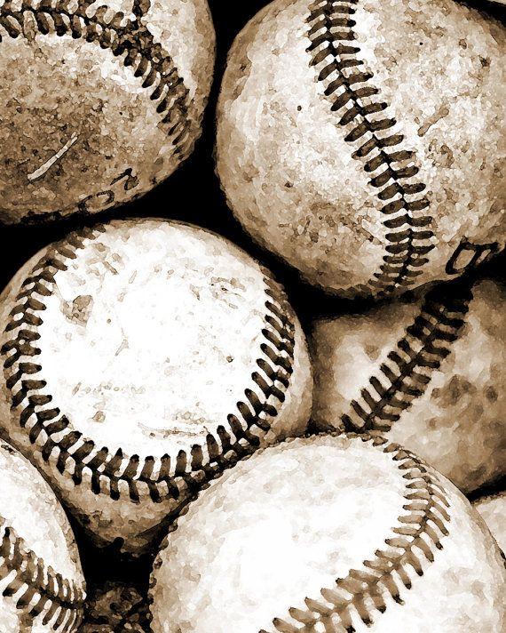Baseball Photography Art Sepia Sports Print  by DawnSmithDesigns, $26.00