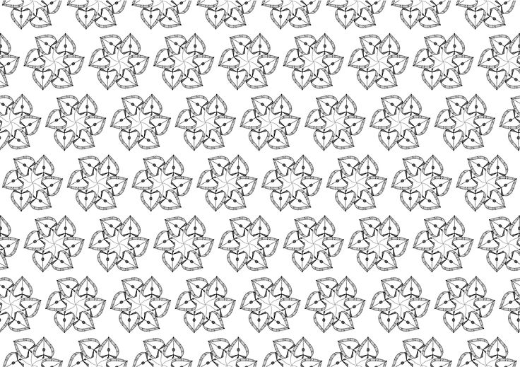 Pattern made by the drawing of a heart-shaped jewellery pendant copied and rotated - Adobe Illustrator
