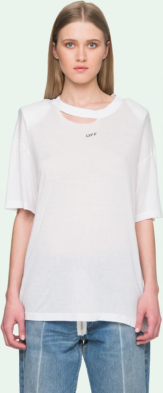 Off White C/O Virgil Abloh Ripped Neck Short Sleeve T-Shirt as seen on Kendall Jenner