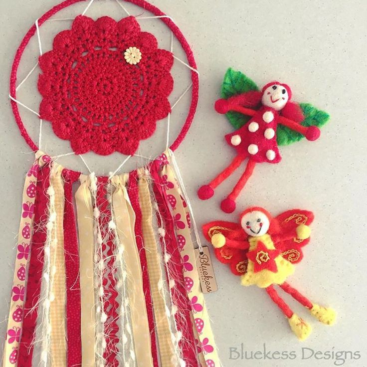 Bright Red and Yellow Up-cycled boho  Dream Catcher by BluekessDesigns on Etsy