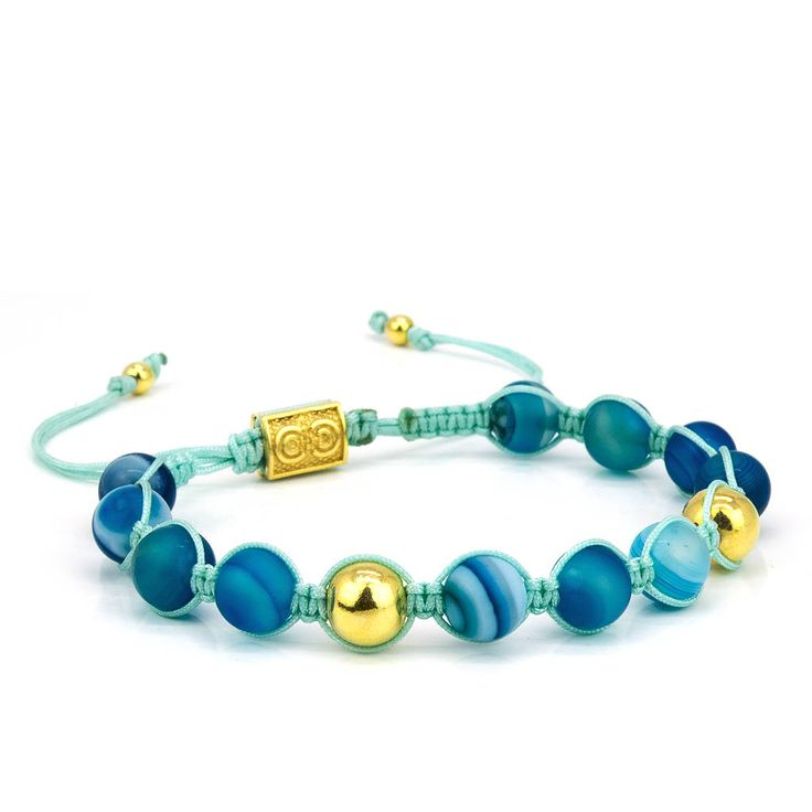 AQUA | Unisex Shamballa Bracelet, Handcrafted, Sterling Silver Balls with 14k Gold Plating, Blue Agate Beads, Turquoise, Anniversary Gift