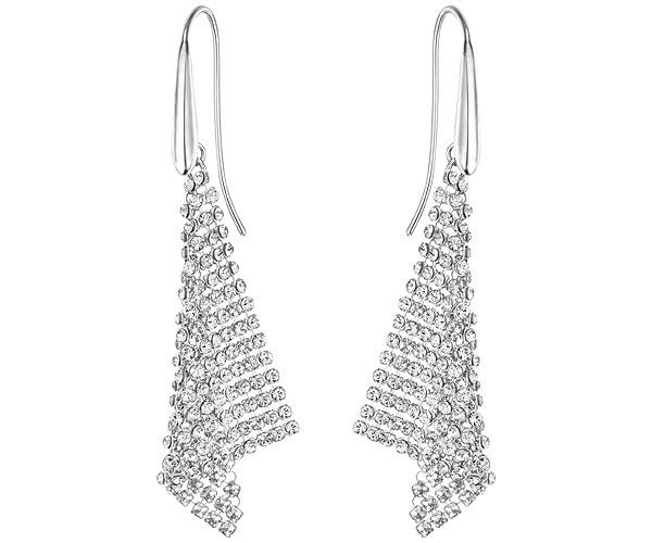 Illuminate yourself in a silvery glow with this pair of rhodium-plated earrings. Each one features a sparkling triangle of clear Crystal Mesh. Bold... Shop now