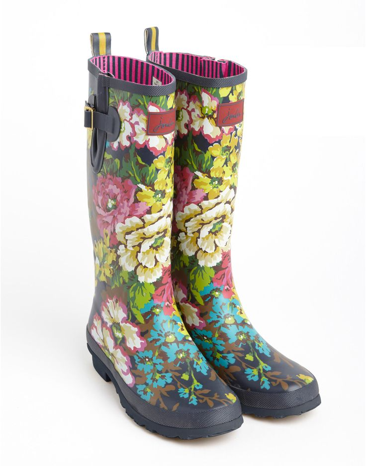 WELLY PRINT Womens Printed Wellies, Navy Floral // Joules