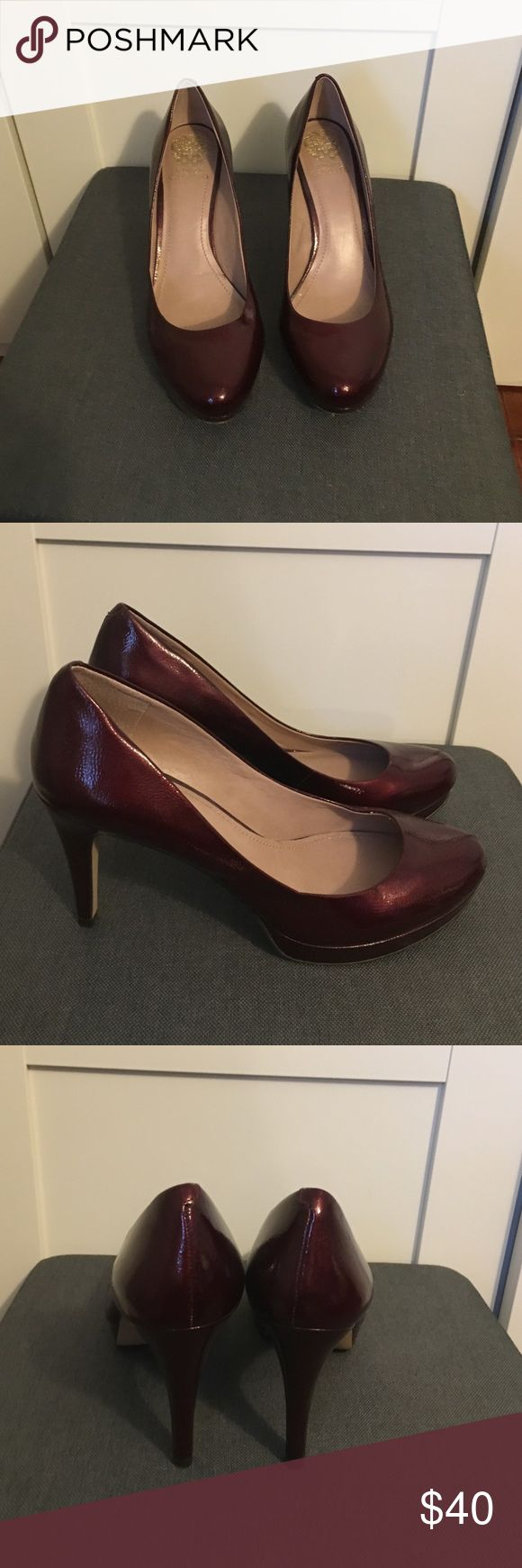 Vince Camuto 4 inch heels Vince Camuto 4 inch heels size 9 AM maroon color excellent condition front tow has slight platform for comfort. Make an offer. Vince Camuto Shoes Heels