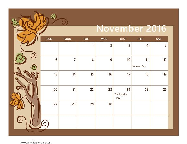 Calendar Shower Ideas : November calendar printable for seasons of the year