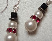 Cute Snowman Earrings in Pearl and Crystal - Weirdly Cute Christmas Jewelry - Unique Holiday Gift Idea under 25